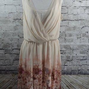 LC Lauren Conrad floral sheer surplice dress